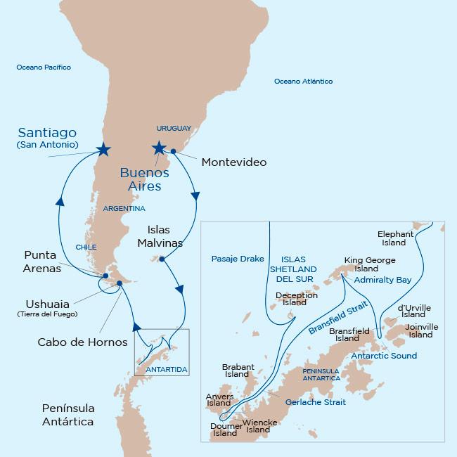 Mapa itinerario Antártida y Patagonia 2019. Princess Cruises