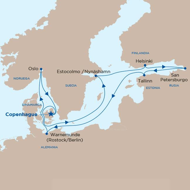 Mapa itinerario Báltico y Rusia - Princess 2019